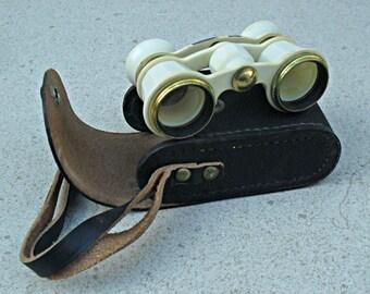 Russian opera glasses in leather case,  White theatre glasses ,Russian Opera Binoculars Soviet Opera Vintage binoculars.