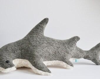 Hammerhead Shark Plush Heathered Grey Furry Belly Large