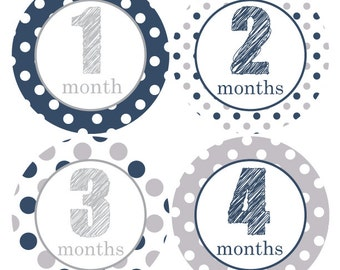 Baby Boy Monthly Stickers, Navy Grey month sticker, Baby monthly stickers, Growth month sticker, Baby Shower gift, Baby onesie sticker A204
