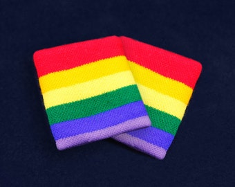 25 Pairs Rainbow Sport Sweat Bands in Bags (25 Pairs) (SWB-01-RB)