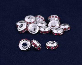 10 Burgundy Crystal Accent Charms in a Bag (10 Charms) (CHARM49-18B)