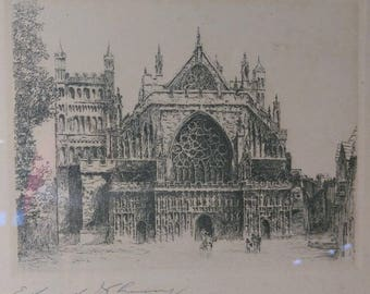 Old Antique Etching Exeter Cathedral England Church Signed by Edward J. Cherry