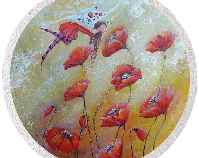 large round fairy beach towel, red fairy festival blanket, fae picnic blanket, original painting by Nancy Quiaoit at NancyQart