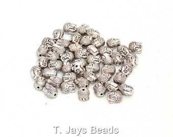 50 x Silver Metal Buddha Head Beads