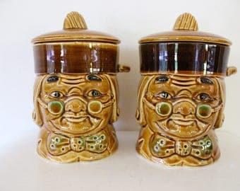 collectable canisters Toby by Webb Japan set two heads containers Japanese jars