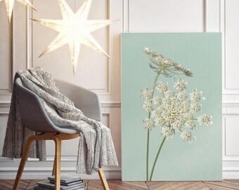 Queen Anne's Lace Canvas Print, Flower Fine Art Photographs, Wall Art Set, Teal, Aqua, Mint Green, Blue, Turquoise, Summer Art - NO.1143T