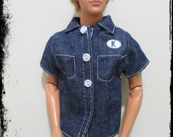 used ken doll clothing 1 jean short sleeved top with K for ken logo mattel nice