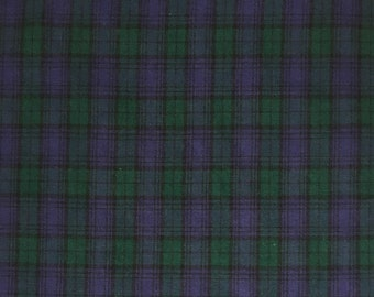 Sale-Black Watch Tartan Plaid-Blue-Green-Black-Cotton-Brushed- Light Weight Flannel-Fabric Finders-Priced by Yard