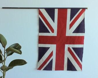 Vintage British Made Large Union Jack Flag on Wooden Pole