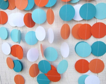 Aqua and Orange Paper Circles Garland, Birthday Party, Photo Prop, Under The Sea, Shower,1st Birthday,Backdrop, Nemo,Little Man