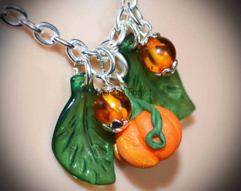 Pumpkin Patch Necklace - Handmade Pagan Jewellery for Wicca, Witch, Samhain, Autumn, Harvest, Halloween