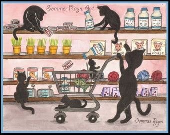 Grocery shopping kitties, cats having fun in a store, Shadow Kitties, Black Cats, farmers market, card or print, Watercolor, Item #0477a