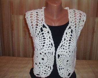 Crochet White Shrug, Bolero,Handmade/ Lace Wedding Shrug, Lace Bolero Jacket, Crochet Bolero Shrug, Evening Jacket