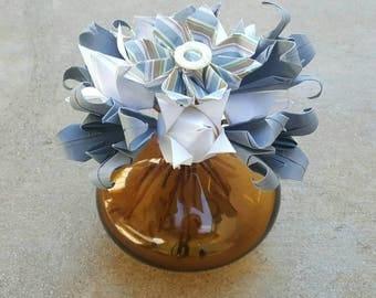 Blue and White Origami Flower Arrangement - Floral Arrangement - Paper Flowers - Centerpiece - Decoration - Paper Art - Origami Flowers