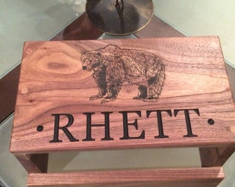 Personalized Child's Step Stool. Bear graphic