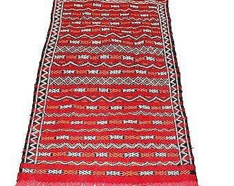 Authentic Moroccan Handmade Handwoven Kilim 100% Wool Rug - Red & Orange - 1.52 x 0.77 m