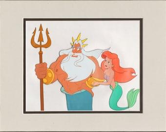 Little Mermaid TV original production Cel Disney Ariel Triton 1992-1994 3*