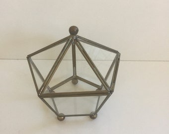 Vintage Glass and Brass Display Box Pentagon Shaped