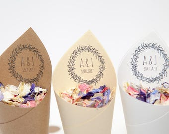 Boho wedding Confetti cones Pack of 5