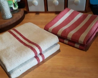Set of teatowel and handtowel grainsack red or grey