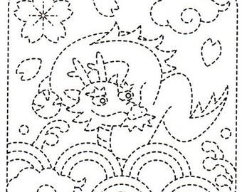 Sashiko Pre-printed Sampler # 1009 - Dragon, Waves & Clouds - White
