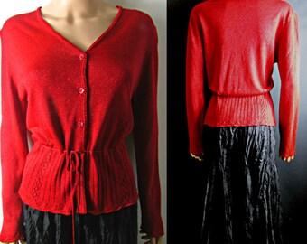 """Laura Ashley Vintage Cardigan Draw sting Waist long Sleeves Red Subtle Sparkle Waist 30"""" UK Size 10 """" US Size"""