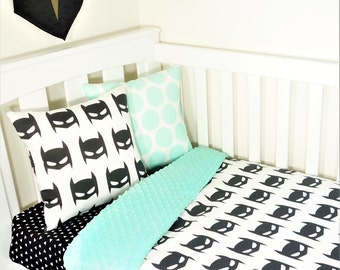 Batman black and mint nursery items