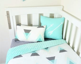 Charcoal, mint, cream triangles nursery items