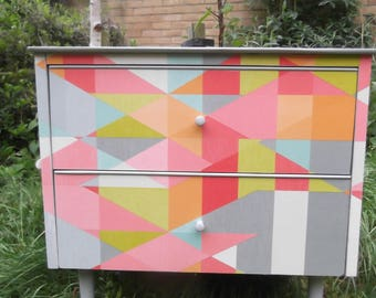 SOLD Mid Century Small Chest restyled in colourful geometric