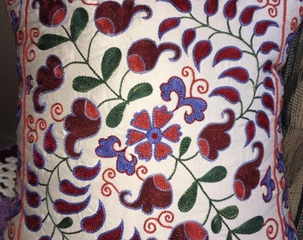 Silk suzani pillow case Real Uzbek SUZANI embroidered in Nurata, Bukhara, Samarkand, Shakhrisabz.