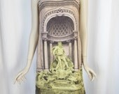 vintage TREVI FOUNTAIN image on nude shift dress/ sleeveless/ bold industrial zipper back: size M