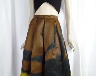 vintage DONNA KARAN ombre handpainted brushstroke silk muslin pleated dirndl skirt/ citron black cinnamon/raw edges: US10-12