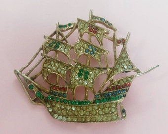 Vintage 1920's brooch sailing ship pirate ship rhinestones