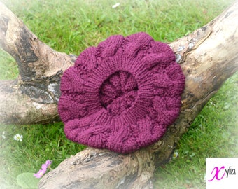 Raspberry Cable Knitted Beret Womens Slouchy Hat Adult Size Hand Knitted Hat Chunky Knit Hat Alpaca Wool Acrylic