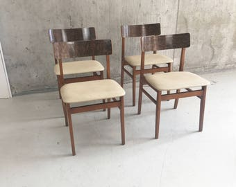 Set of 4 1970's mid century dining chairs with vinyls seats and wood grain effect laminate back rests
