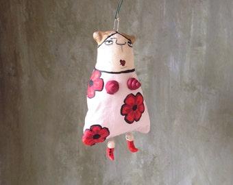 Roberta in a flower dress. Little rag doll, painted