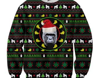Harambe Christmas sweater- meme sweater, Harambe sweater,