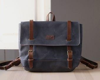 Waxed canvas backpack ELLE grey