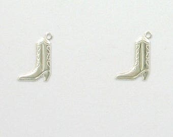 Sterling Silver Cowboy Boot Charms, Set of 2
