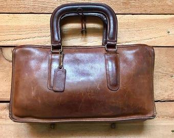 Vintage Coach Bonnie Cashion Handbag Vtg Brown Leather Briefcase Folio Bag Made in NY USA
