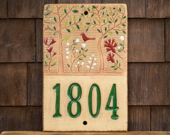 Ceramic Address House Number Sign for Outdoor Use / Housewarming or Wedding Gift / Cabin or Vacation Home /Woodland Tree of Life/CUSTOM MADE