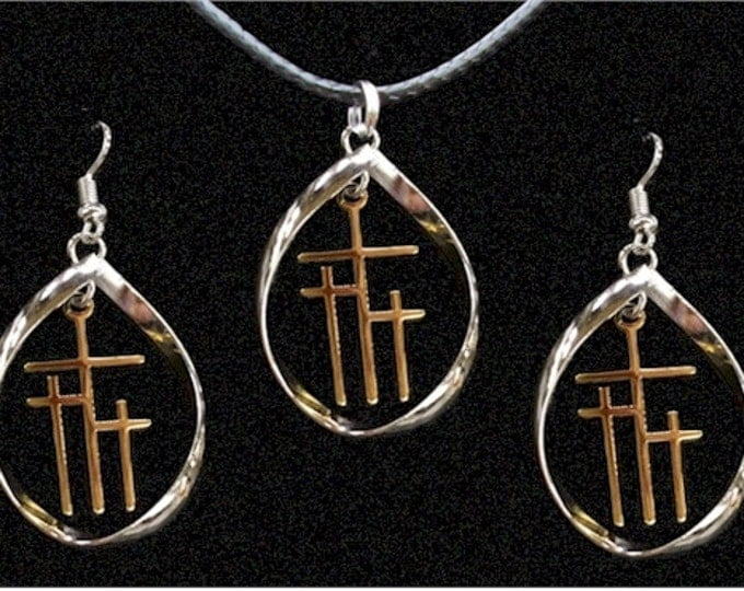 Twisted Hoop & Calvary 3 Cross Earrings and Cross Necklace Set in Silver 2Tone - Saint Michaels Jewelry - Calvary Three Cross