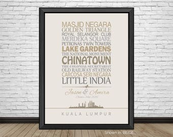 Kuala Lumpur, Travel Print, Kuala Lumpur Sightseeing, Famous Places, Travel Destinations, Vacation, Honeymoon, City Prints, Gift for Couples