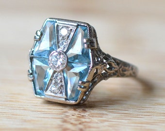 1930s 14K White Gold Ring with Aquamarines at 1.25 CTW with Diamonds - Art Deco Engagement Ring - Aquamarine Ring - Diamond Filigree Ring