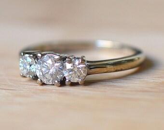1950s 18K White Gold Engagement Ring - Vintage Engagement Ring - Size 8 Diamond Ring - 1 Carat Diamond Ring - Antique Engagement Ring