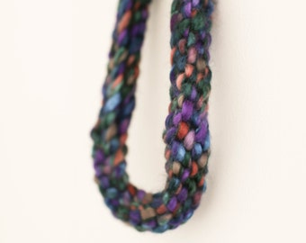 Hand made hand knitted chunky woollen necklace