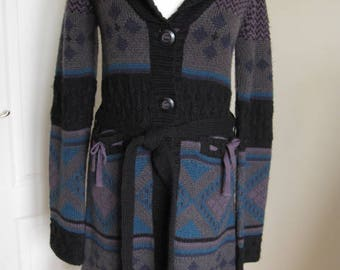 Vintage Object Knitted Belted Geometric Black And Blue Cardigan M-L
