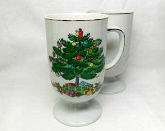 Vintage Christmas Tree Footed Porcelain Mug Cup Holiday Presents Ornaments Celebration Drinkware Gold Trim Greem White Red Set of Two