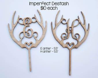 IMPERFECT DESTASH- E or H wood antler cake topper