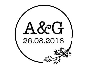 "Rustic Wedding Stamp, round personalised stamp, initials & date stamp, favours stamp, wedding stationery, rustic stamp, 1.8""x1.8"" (cts171)"